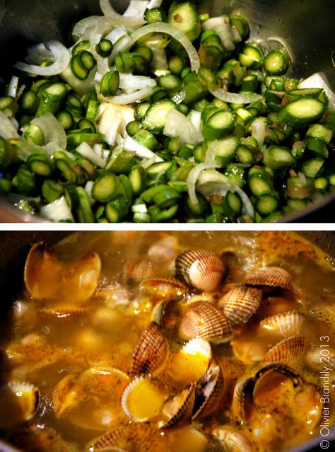 Bouillon crémeux d'asperges vertes aux coques et orange, œuf